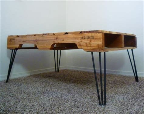 diy one coffee table with 3 rod hairpin legs pallet