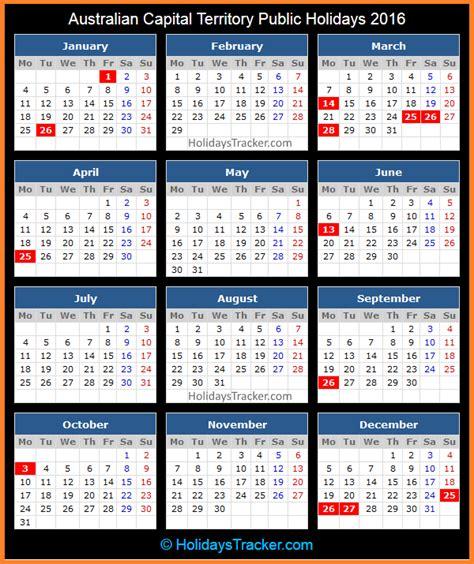 Calendar 2016 Holidays Australia Australian Capital Territory Australia Holidays