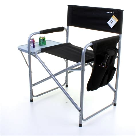 Folding Directors Chair With Side Table Folding Director Chair Lightweight Portable Fish Cing Outdoor Seat Side Table Ebay