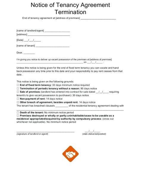 notice to end tenancy template template end of tenancy notice template