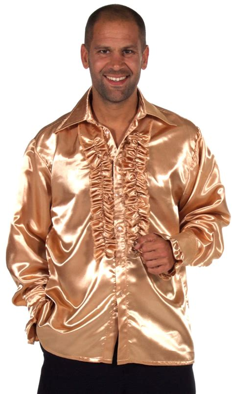 70 s mens satin shirt chagne 205201 26 fancy dress