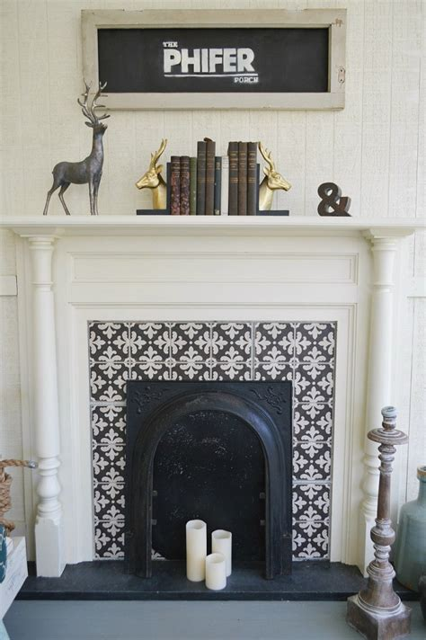 patterned fireplace tiles year round southern outdoor porch entertaining