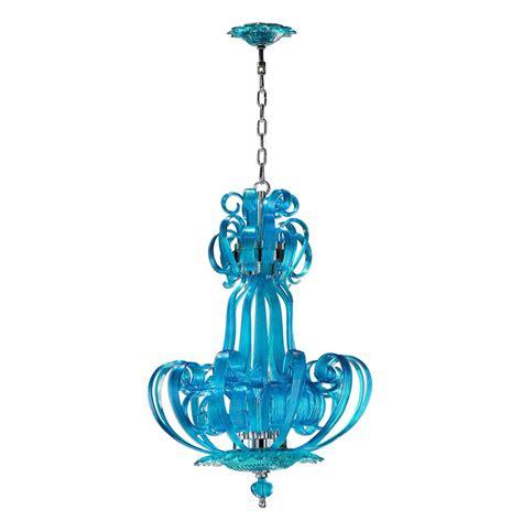 Florence Light Blue Aqua Murano Glass 4 Light Pendant Glass Pendant Chandelier