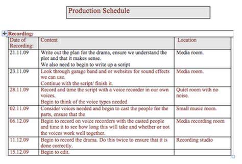radio schedule template btec radio production unit 41 radio drama