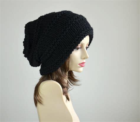 knit slouchy hat winter hat knit hat slouchy beanie beanie black hat