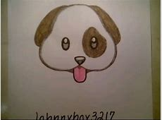 How To Draw Cute Dog Emoji Faces For Kids Cat Beginners ... Easy Dog Face Drawing