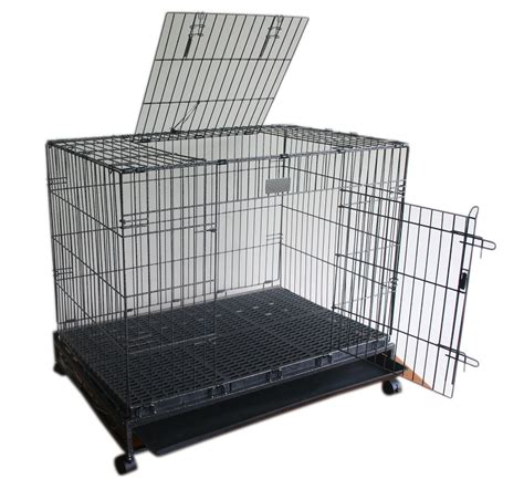 metal cage xlarge metal folding door cage with wheels lbh 36x24x25 inches dogspot