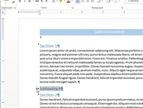 what are section headings how to collapse and expand parts of your document in word