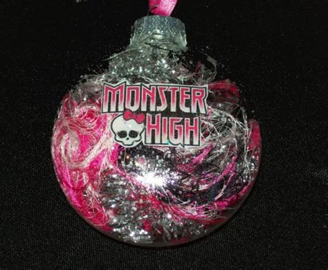 monster high christmas glass ornament pink black sparkle