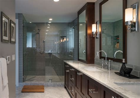 shower with gray subway tiles transitional bathroom elegant teak shower mat in bathroom transitional with gray
