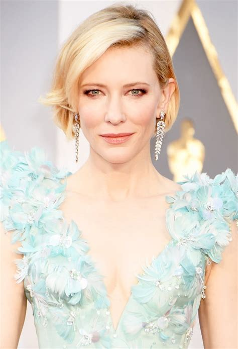 Get The Look Cate Blanchetts Feathered Tresses by Cate Blanchett Debuts Bob Haircut On Oscars 2016