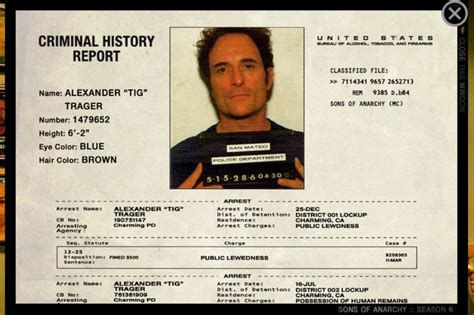 Records Of Arrest Quot Tig Quot Trager Sons Of Anarchy