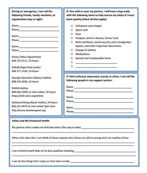 safety plan worksheet mmosguides