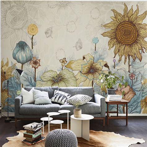 living room mural aliexpress com buy elegant photo wallpaper rose flower