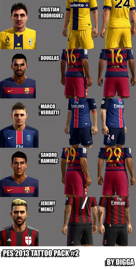 tattoo messi pes 2015 pes 2013 tattoo pack 2 by digga pes patch