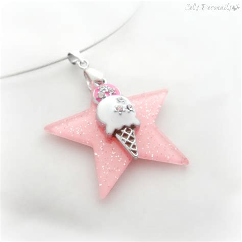 Ice Cream Necklace Pink Star Summer Jewelry On Storenvy