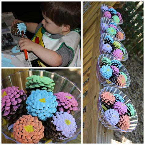 pine cone crafts ideas pinecone flower bouquets craft crafty morning