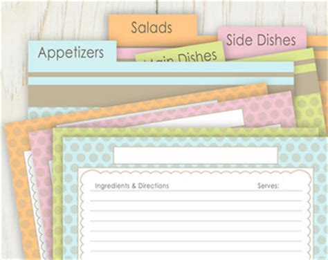 printable recipe index card dividers recipe dividers etsy