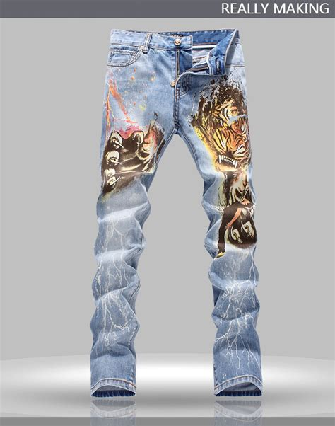 tiger pattern jeans online cheap newest men s printed jeans tiger pattern