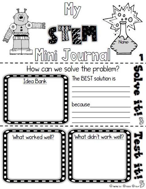 Free Stem Mini Journal For Elementary Students Use With Any Stem Challenge First Grade Stem Planning Template
