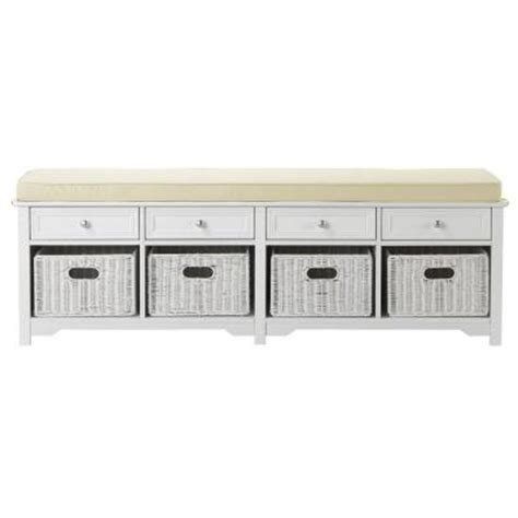 entryway bench with 4 baskets home decorators collection oxford 60 in w ivory fabric
