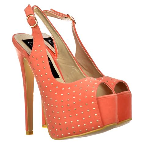 coral high heels shoekandi studded peep toe high heels slingback
