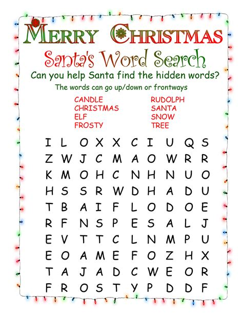 printable word search on christmas printable word searches north pole news