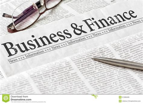 Free Mba School Of Business And Finance by Newspaper With The Headline Business And Finance Stock