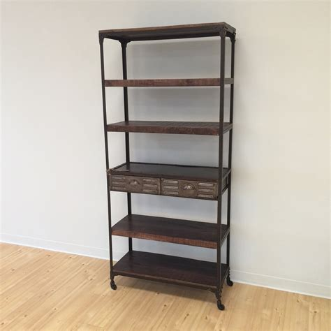 iron and wood bookcase with two drawers nadeau alexandria