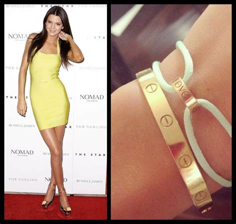 Kendall & Kylie Jenner Gold Love Bracelet 16cm   Celebrity Jewellery Engraved  Bangle