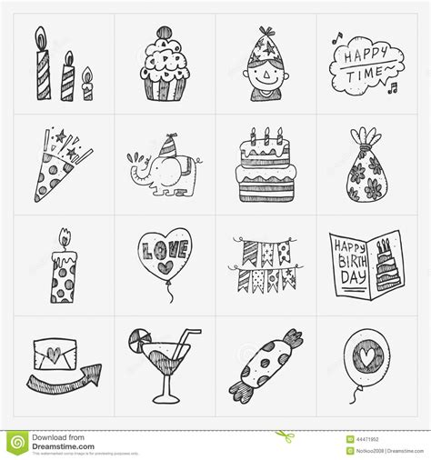 free vector birthday doodle doodle birthday icon set stock vector image 44471952