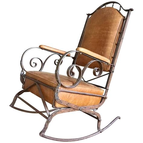 Wrought Iron Rocking Chair by 19th Century Wrought Iron And Leather Rocking Chair For