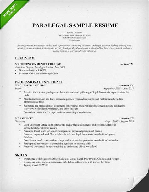 exle of paralegal resume paralegal resume sle writing guide resume genius