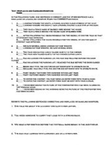 misplaced modifier worksheet high school worksheets dangling modifier worksheet chicochino worksheets and printables