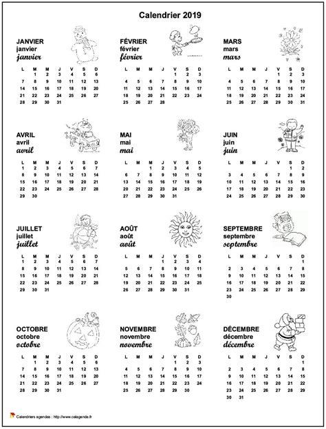 Calendrier 2019 annuel école primaire et maternelle