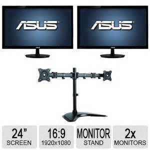 inland 05322 dual lcd desk mount inland dual desk mount 05342 and asus 24 class vs247h p
