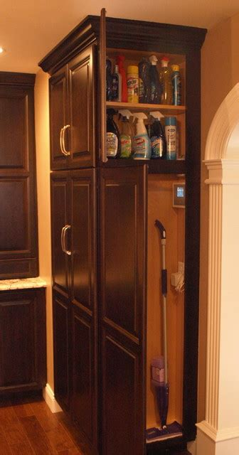 kitchen broom cabinet broom closet cleaning supplies storage transitional