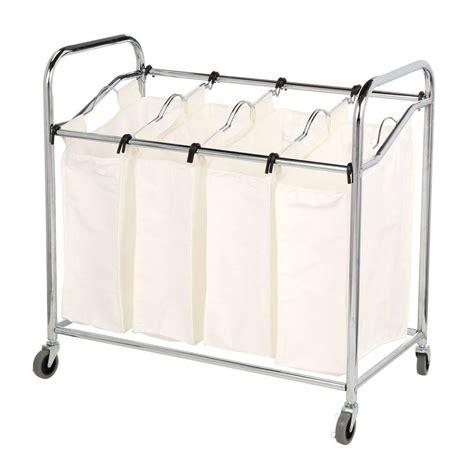 4 section laundry sorter whitmor chrome laundry collection 36 in x 33 in chrome