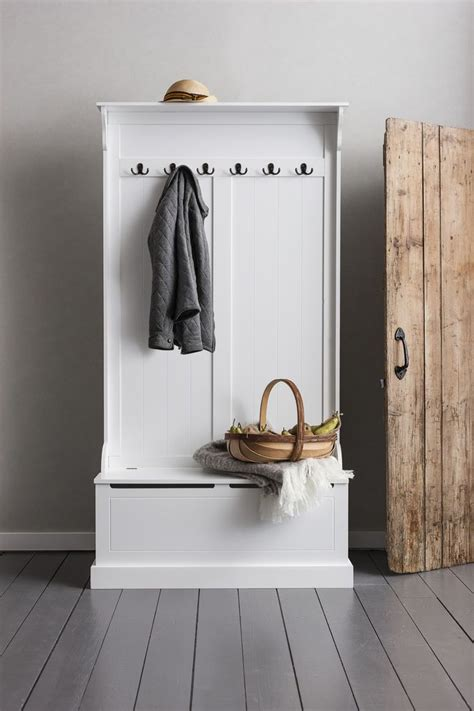 Hallway Bench And Coat Hook Shoe Storage In White