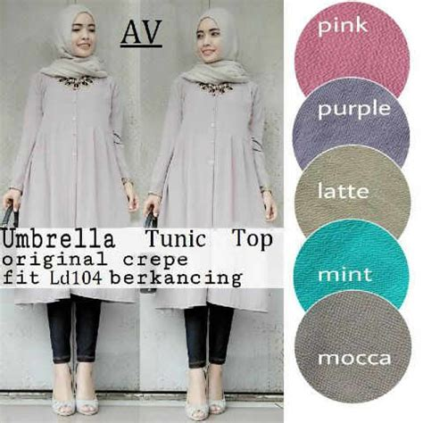 Tunik Mateial Bubblepop Mocca Quality Blouse Umbrella Tunik Model Terbaru Muslim