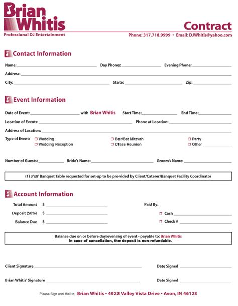 dj contracts templates wedding dj contract free printable documents