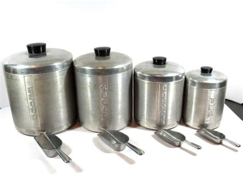 vintage mid century aluminium nesting canister set w lids vintage aluminum canister set shop collectibles online daily