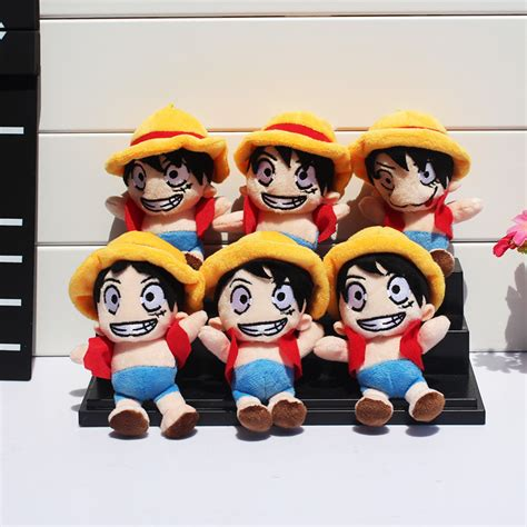 One Fever Toys Monkey D Luffy anime one monkey d luffy mini plush doll with ring soft stuffed doll 10pcs lot 5 quot 12