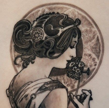 electra tattoo alphonse mucha by electra ink i like