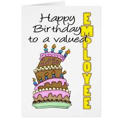 employee birthday card birthday cake valued empl zazzle