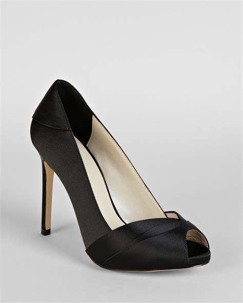 black peep toe high heels millen peep toe platform pumps pleated satin