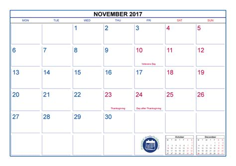 Printable Calendar With Holidays And Lines November 2017 Calendar With Holidays Printable Printable