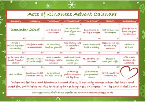 7 Great Acts Of Kindness You Can Copy by Day 83 Kindness Advent Calendar 2015 Make Today Happy