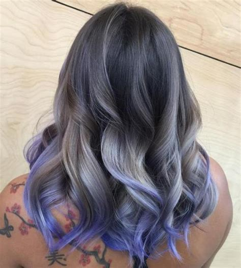 salt and pepper hair with lilac tips 20 shades of the grey hair trend
