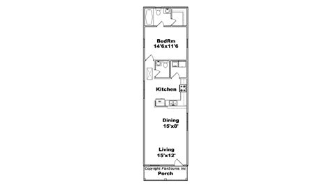 Narrow Apartment Floor Plans 1 Bedroom House Plan Cottage Plansource Inc